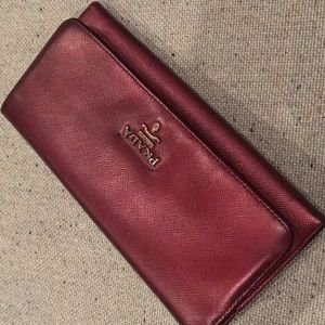Custom dyed crimson PRADA wallet